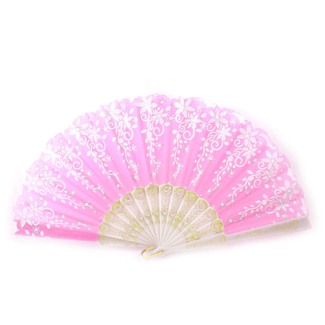 Plastic Frame Silver Tone Glittery Powder Detail Floral Printed Folding Hand Fan Pink White
