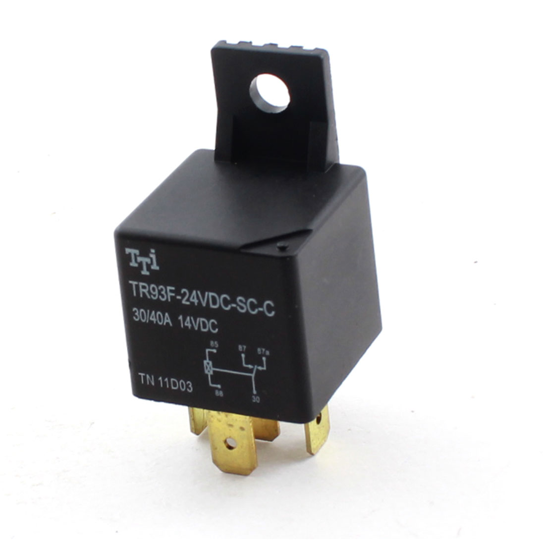 Car Auto DC24V Coil Voltage Single Pole Double Throw 1NO 1NC 5Pin Black Plastic Housing General Purpose Power Relay