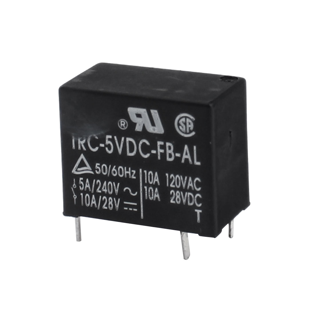 DC 5V Coil Voltage 4-Pin SPST Normal Open PCB Type General Purpose Power Relay Black
