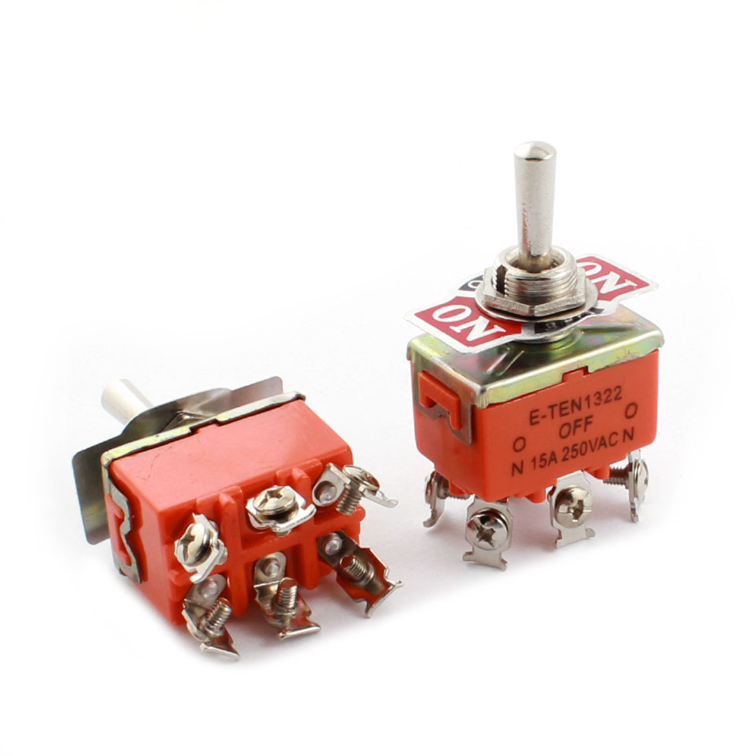 2PCS AC250V 15A ON-OFF-ON 6 Screw Terminals Three Position DPDT Locking Toggle Switch