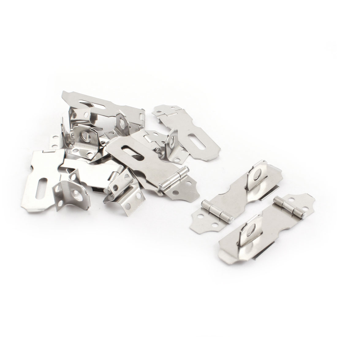 10 Sets Silver Tone Metal Cabinet Cupboard Gates Padlock Latch Door Hasp Staple