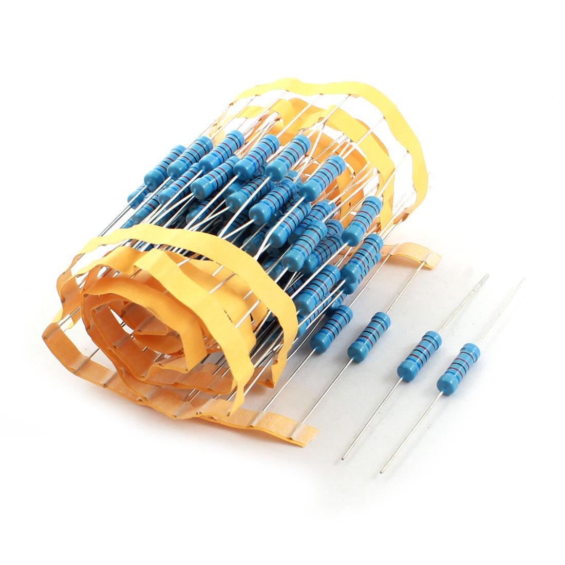 100pcs Axial Lead Metal Oxide Film Resistor 62K Ohm 1% Tolerance 2W Blue