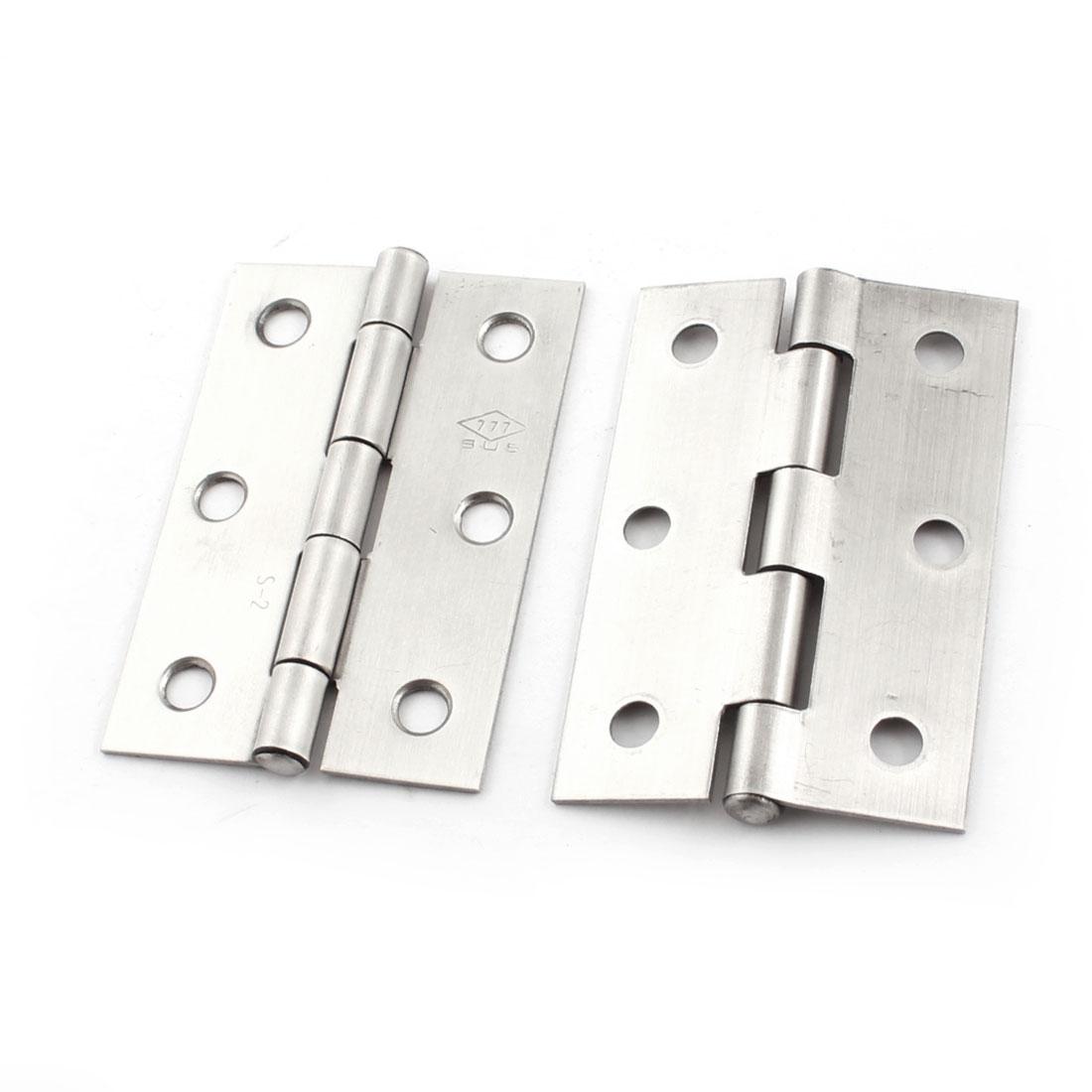 "2 Pcs Screws Mounted Silver Tone Cabinet Door Butt Hinges 2.5"" Long"