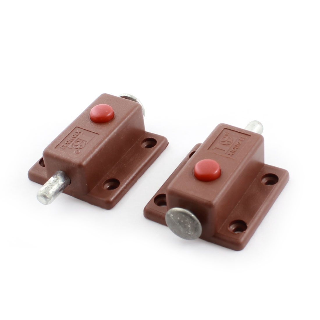 2Pcs Door Screw Mounted Brown Plastic Automatic Lock Barrel Bolt