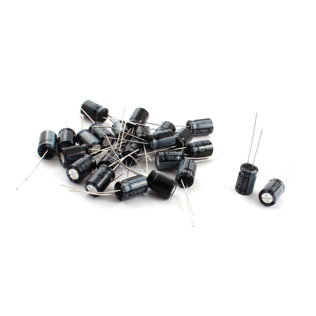 25 Pcs 1000uF 6.3V Radial Leads Aluminum Electrolytic Capacitors 8x12mm