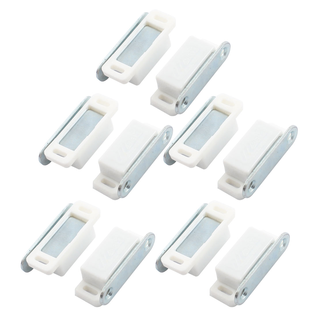 10Pcs Home Beige Plastic Cupboard Door Magnetic Catch Latch 46mm Length
