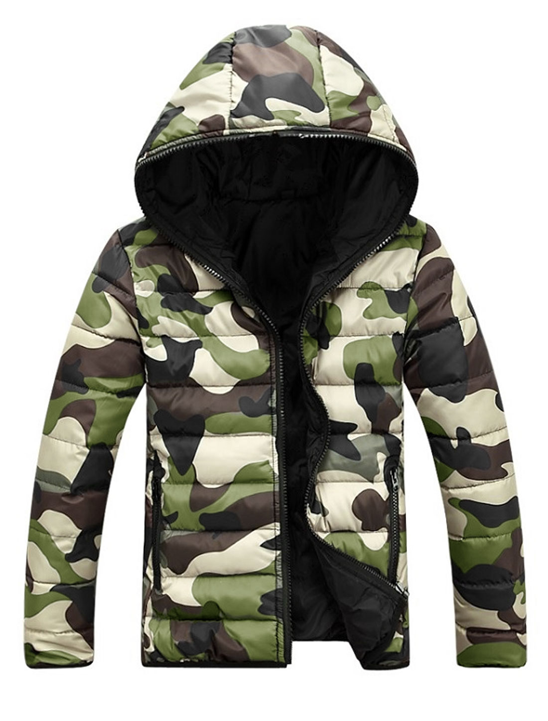 Men Camouflage Pattern Zip Closed Hooded Padded Coat Army Green Beige M