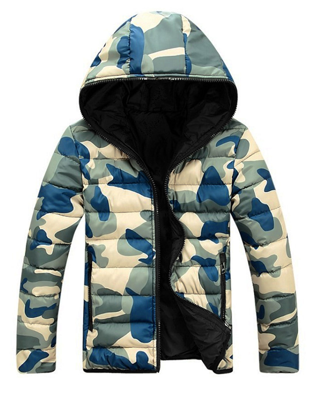 Men Camo Pattern Long Sleeves Casual Blue Khaki Hooded Padded Coat M