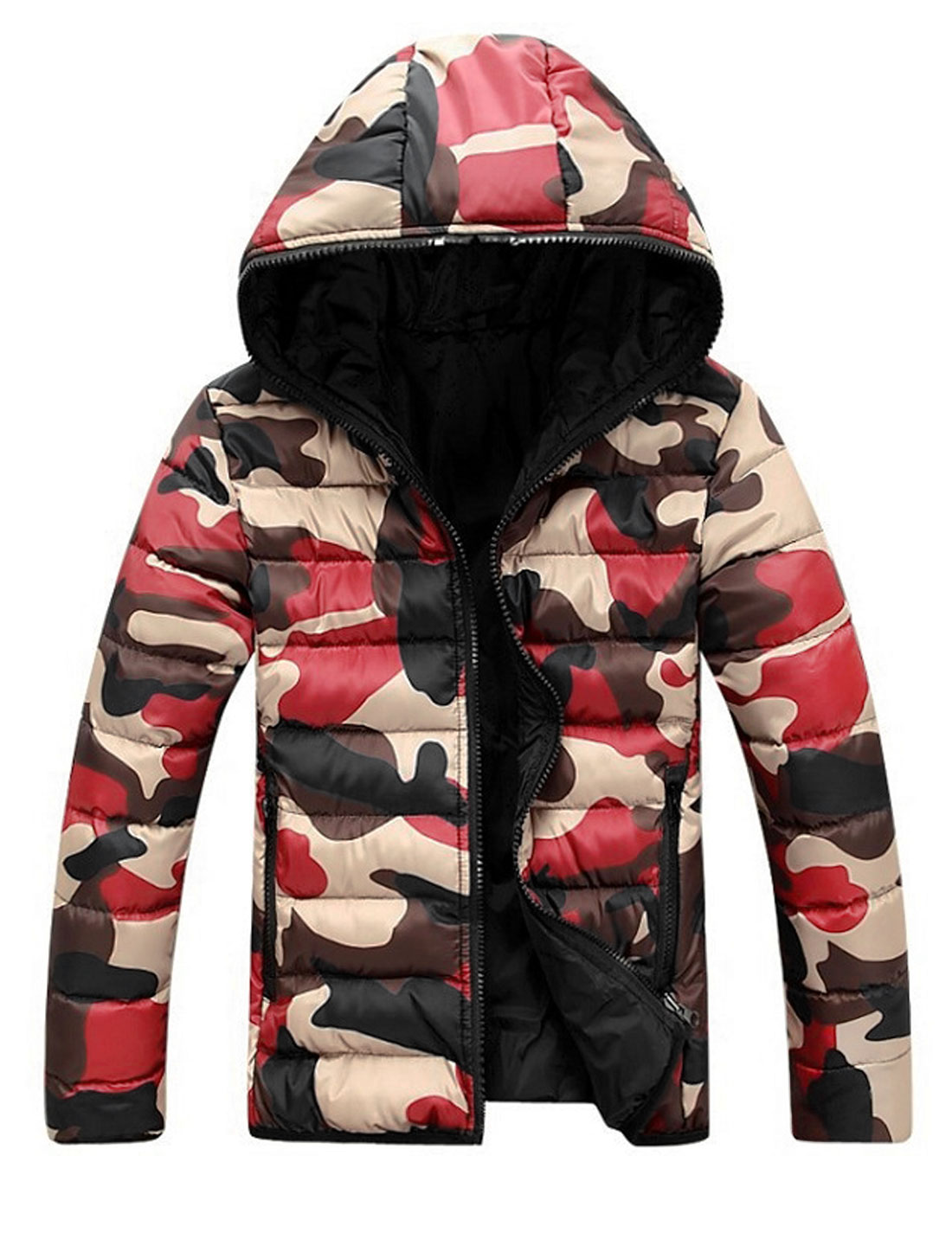 Camouflage Pattern Long Sleeves Red Khaki Hooded Padded Coat for Man M