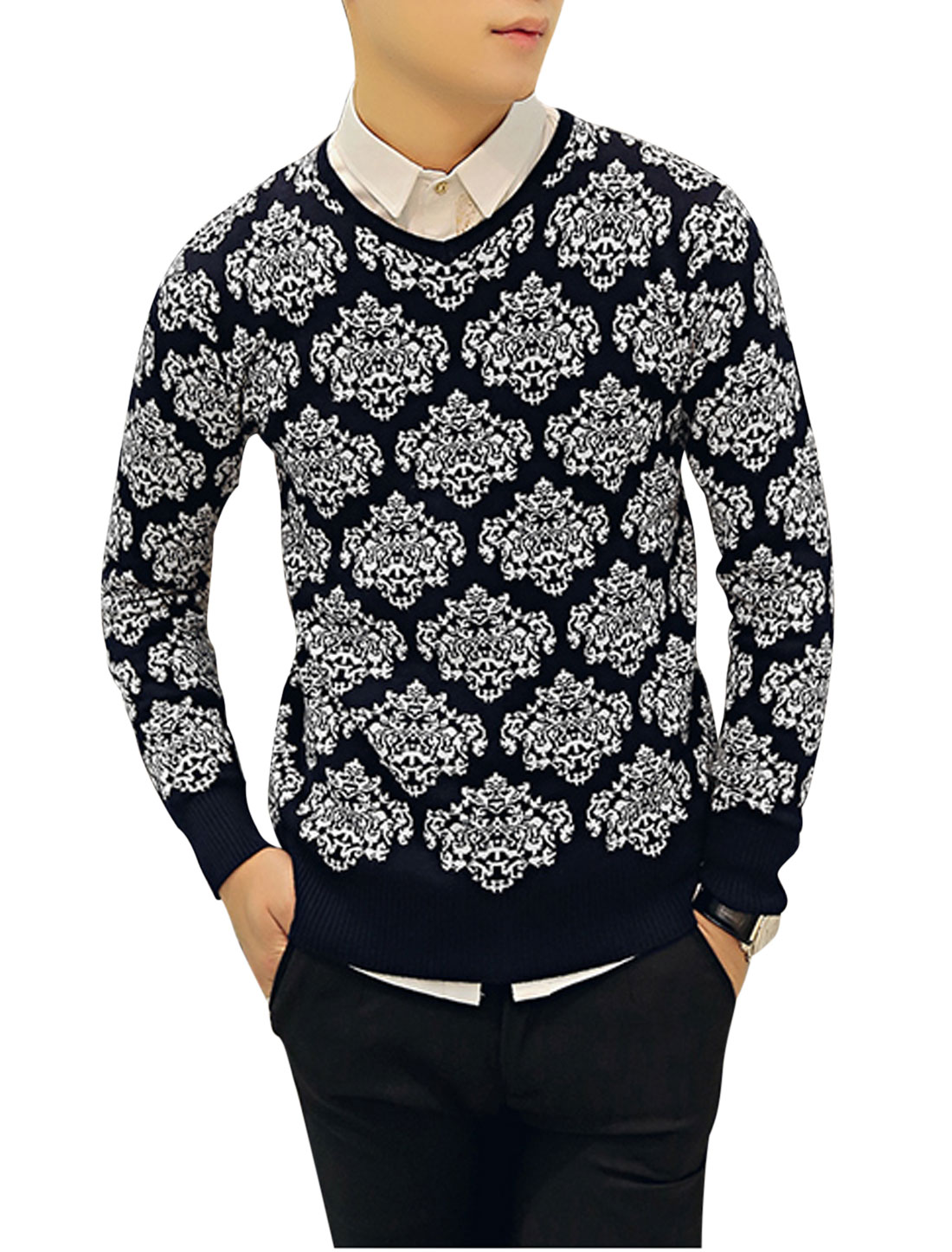 Man Jacquard Pattern V Neck Long Sleeve Knit Shirt Navy Blue White S