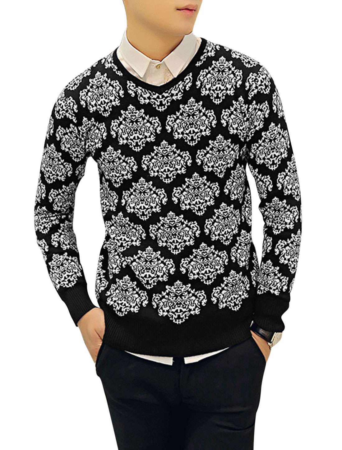 Pullover Jacquard Pattern Chic Black White Knit Shirt for Man S