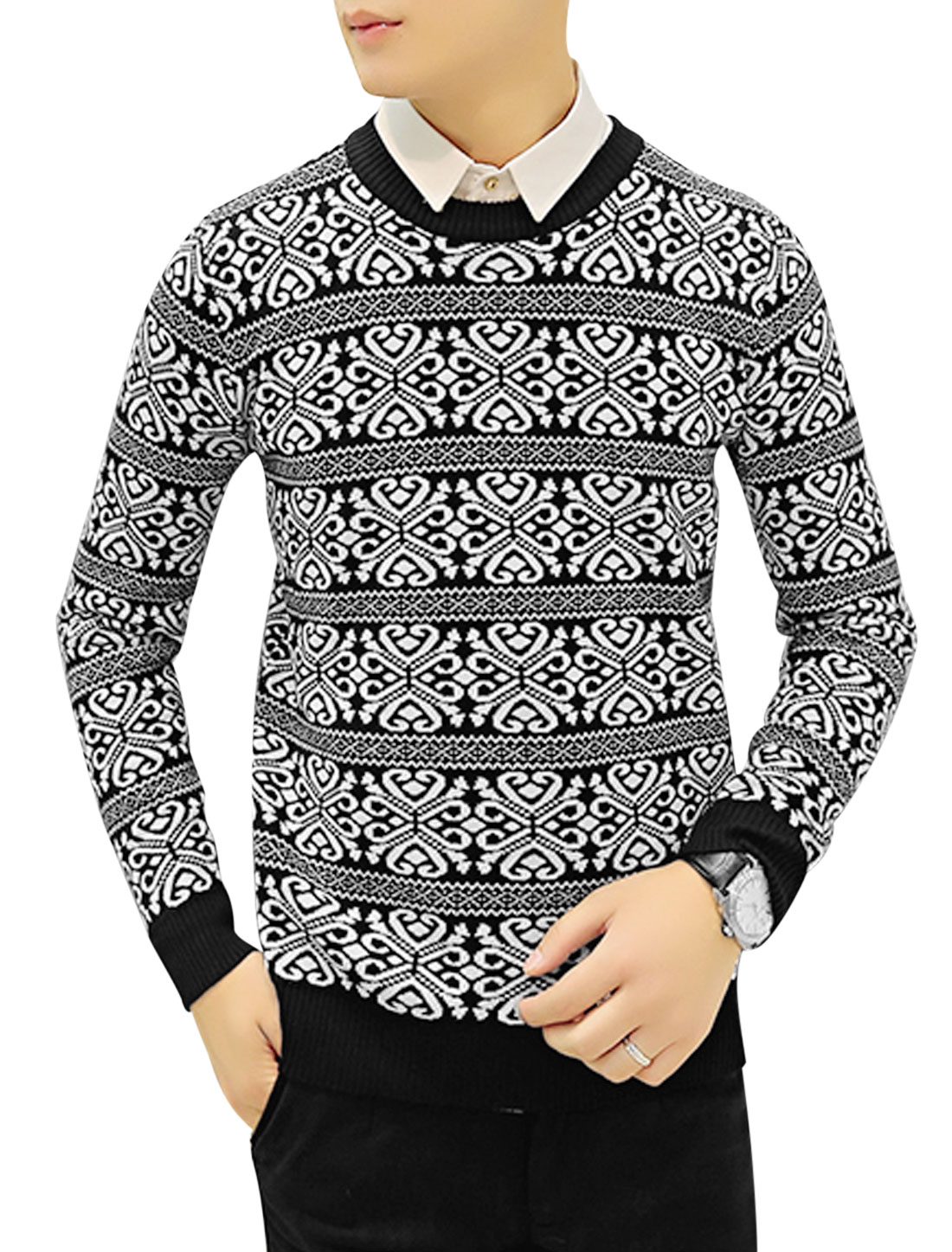 Men Jacquard Long Sleeves Slim Fit Black White Knit Shirt S