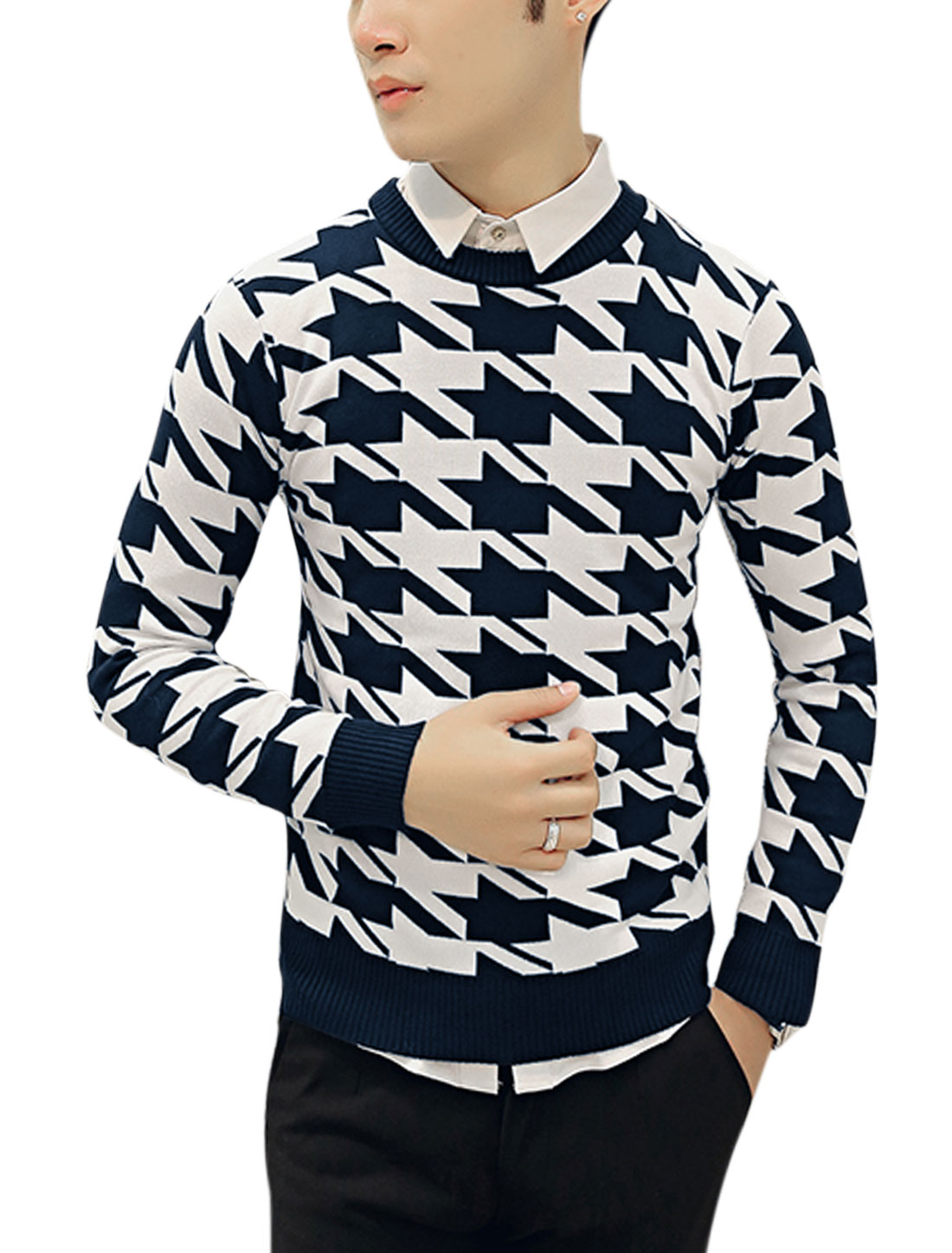 Men Crew Neck Houndstooth Pattern Slim Fit Knit Shirt Navy Blue White S