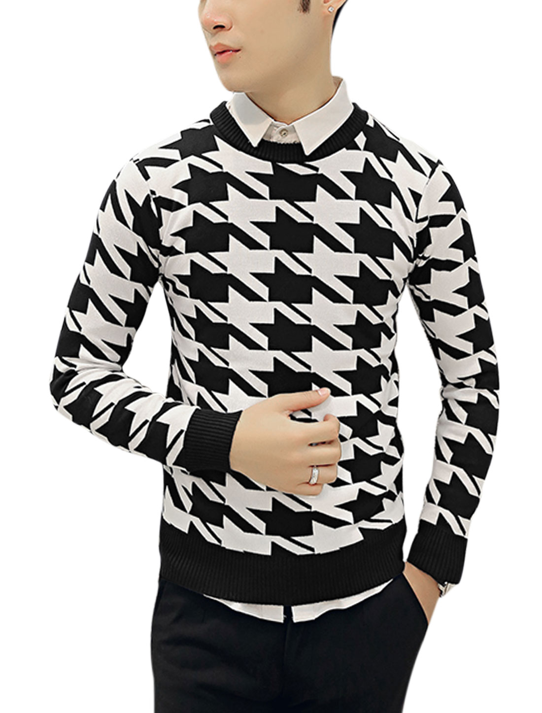 Man Houndstooth Long Sleeve Cozy Fit Black White Knit Shirt S