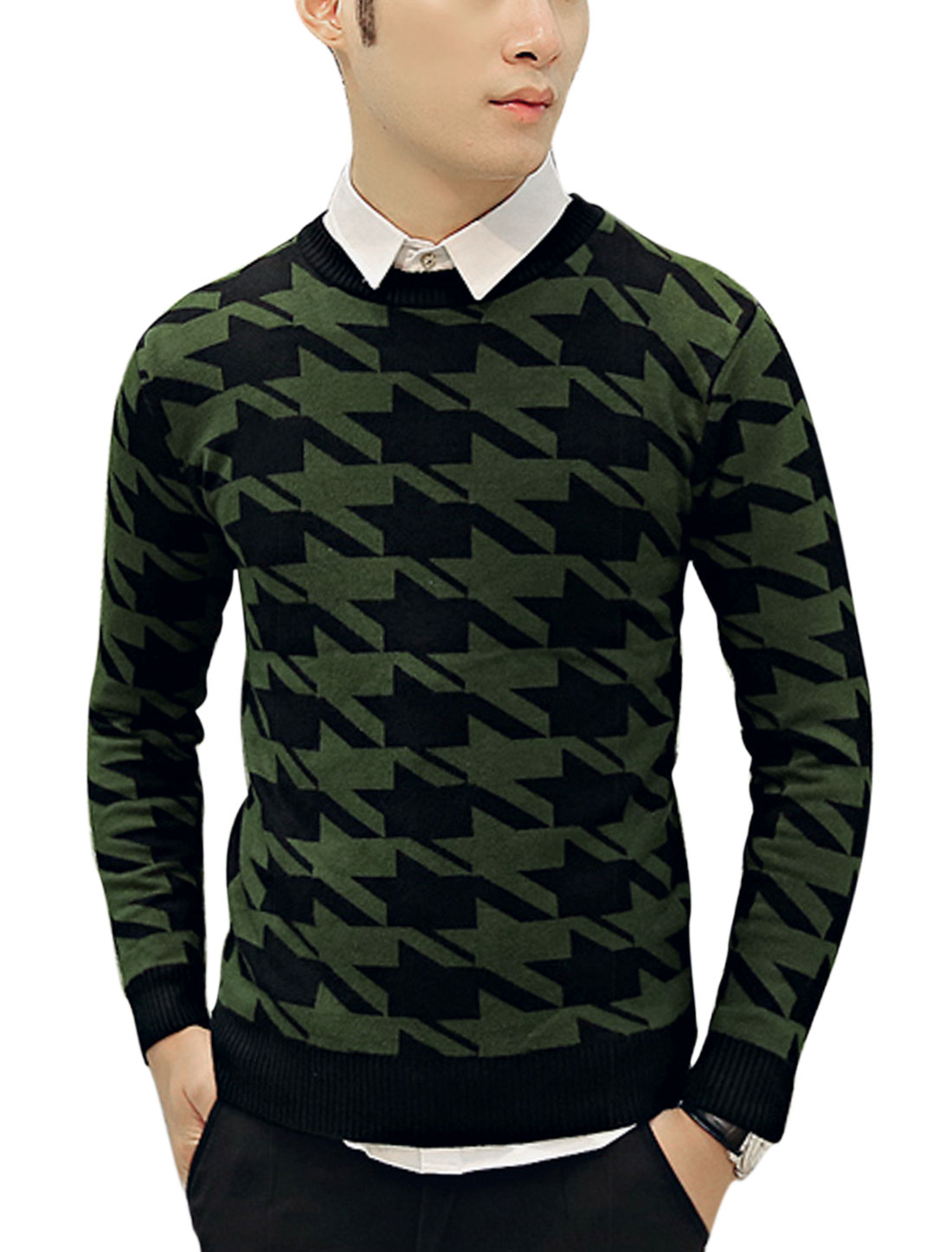 Houndstooth Slipover Slim Fit Army Green Black Knit Shirt for Man S