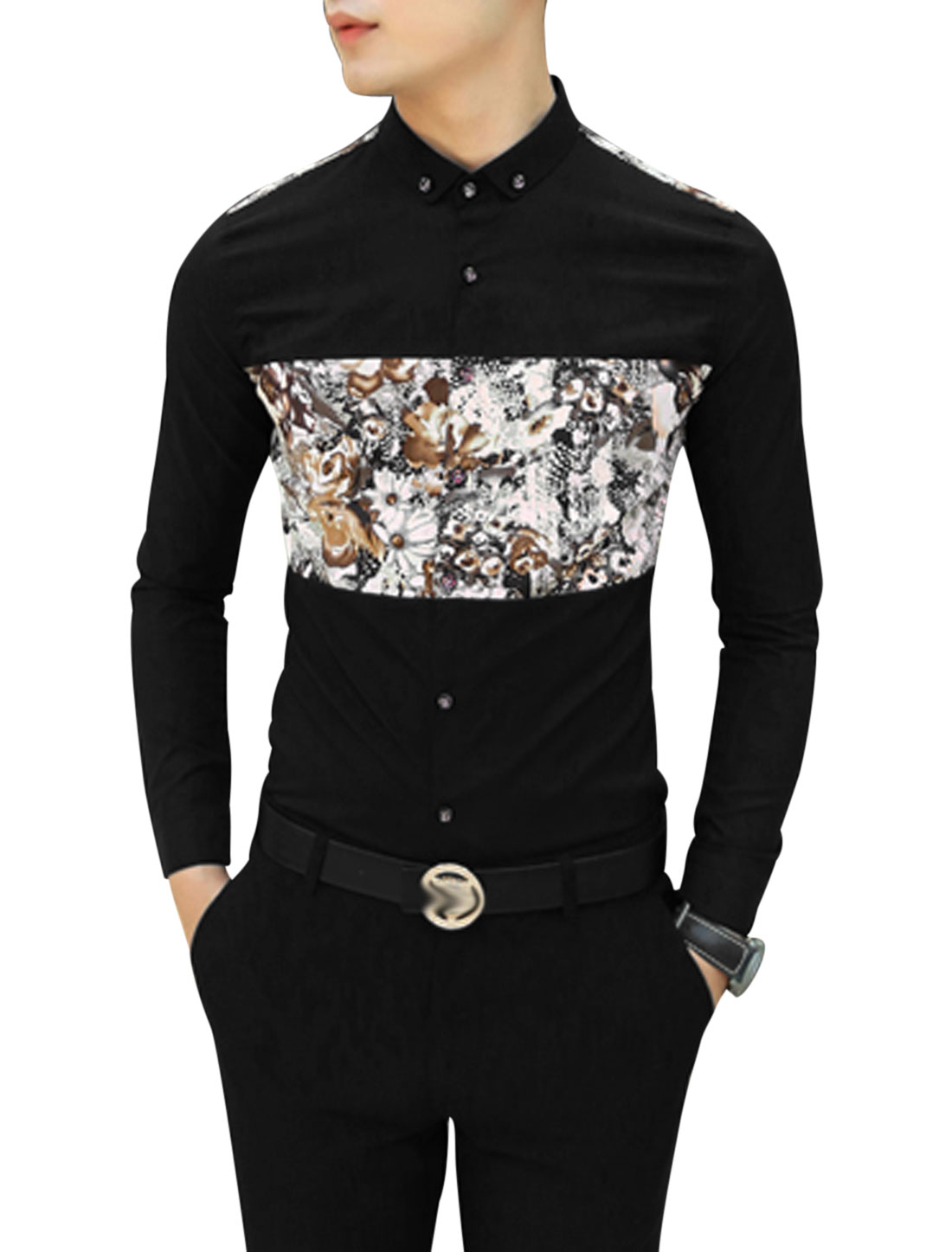 Men Black Long Sleeves Point Collar Button Closure Slim Fit Casual Shirt S