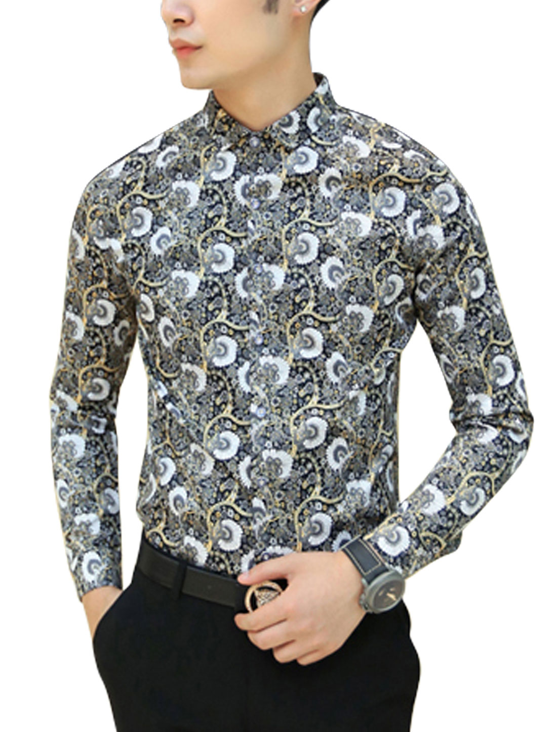 New Style Floral Pattern Round Hem Stylish Casual Shirt for Men Multicolor S