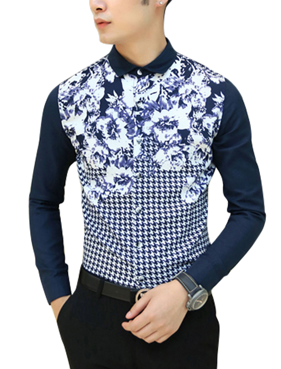 Men Navy Blue White Long Sleeves Point Collar Single Breasted Slim Fit Shirt S