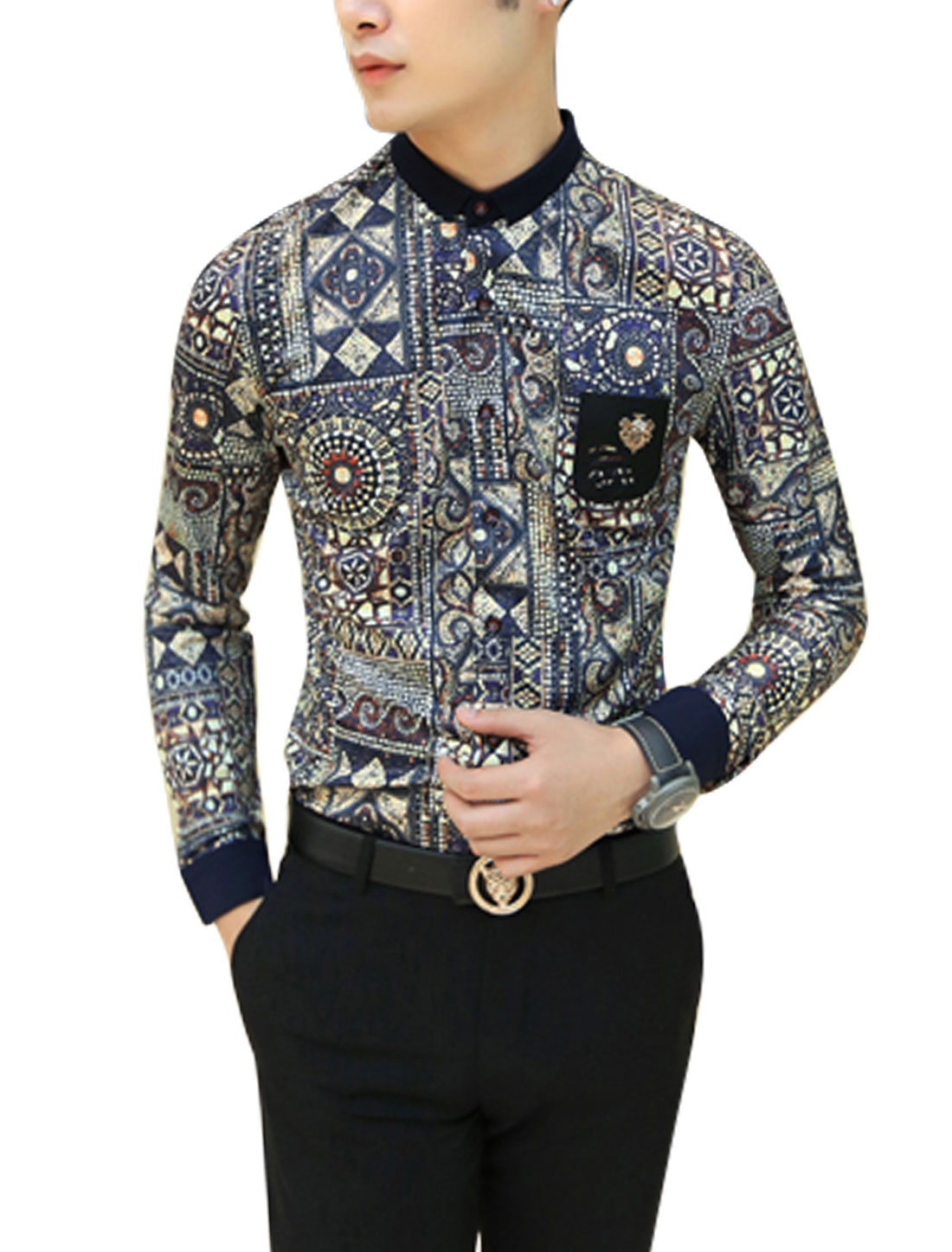 Men Novelty Pattern Single Breasted Fashion Casual Shirt Multicolor S