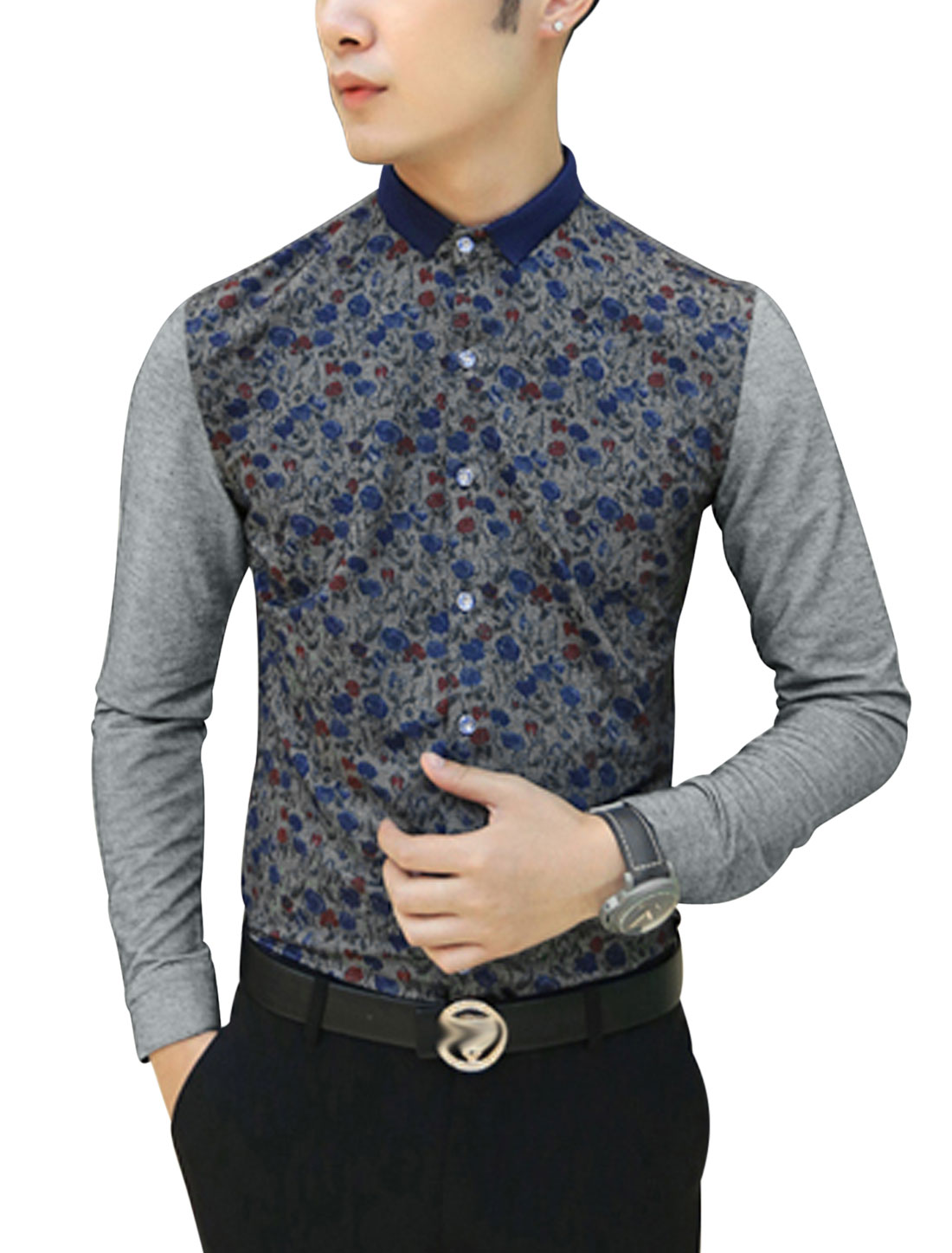 Men Floral Pattern Button Closure Front Button Cuffs Shirt Gray S