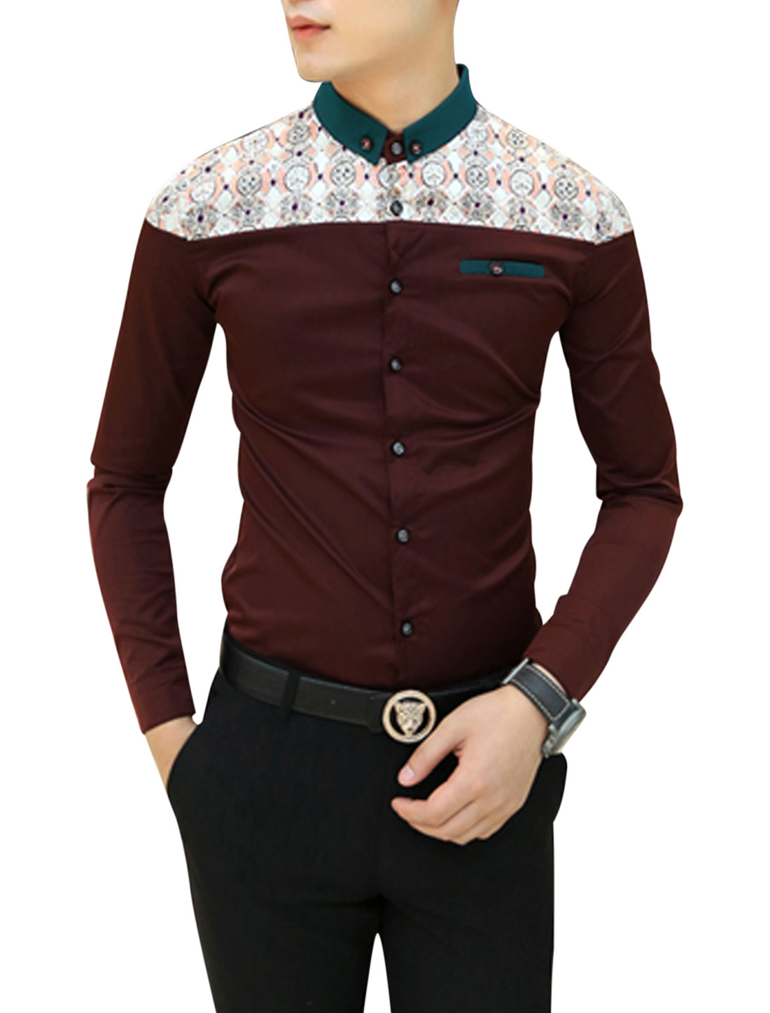 Men Burgundy Long Sleeves Point Collar Button Down Slim Fit Casual Shirt S