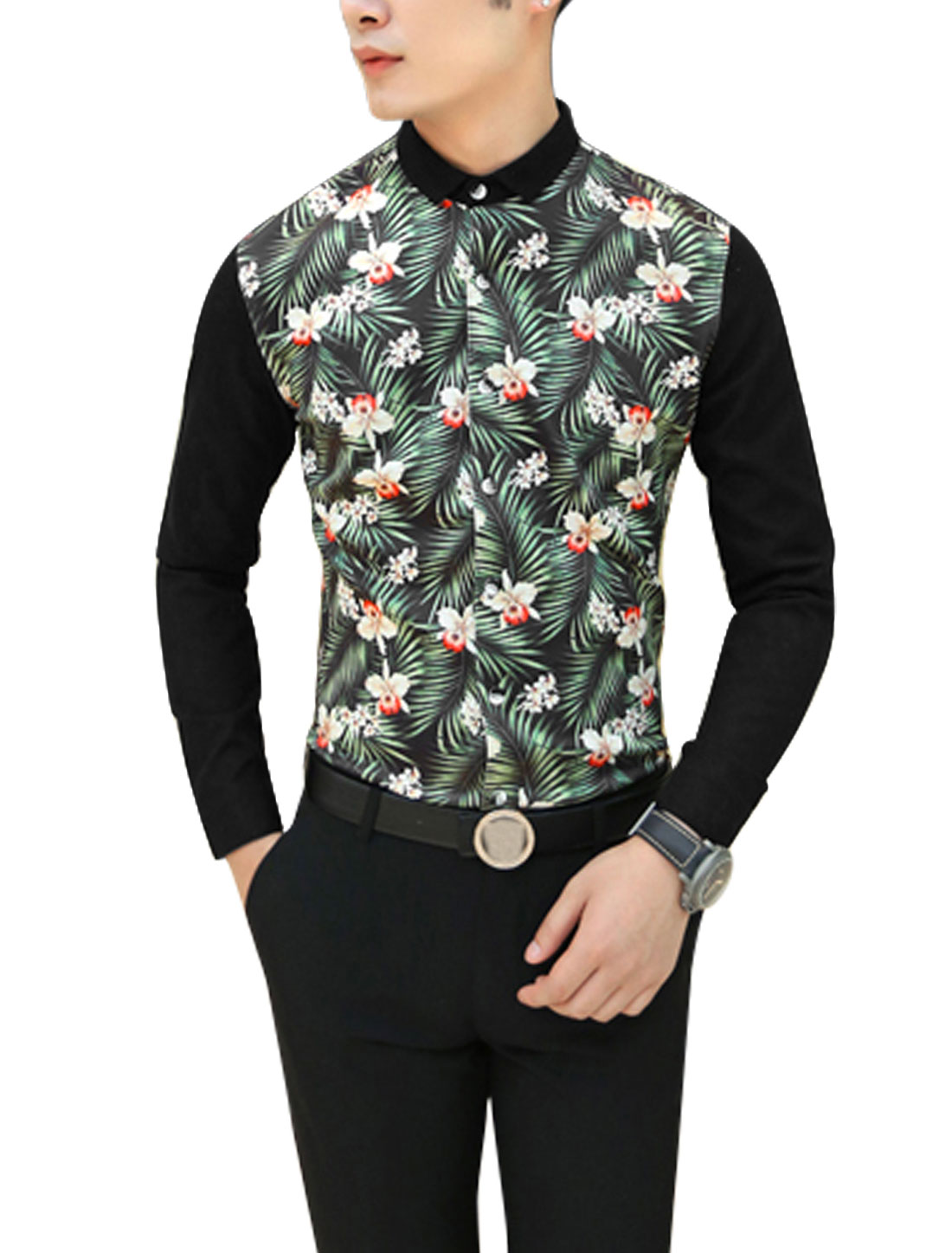 Men Floral Leaves Pattern Button Closure Front Shirt Black Green S