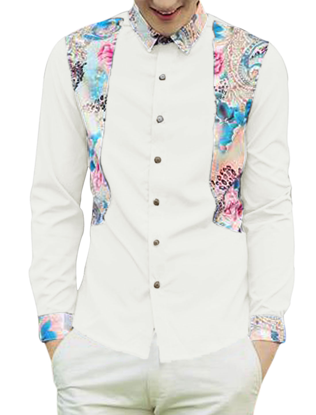 Men Flower Pattern Long Sleeves Button Down Casual Shirt White S