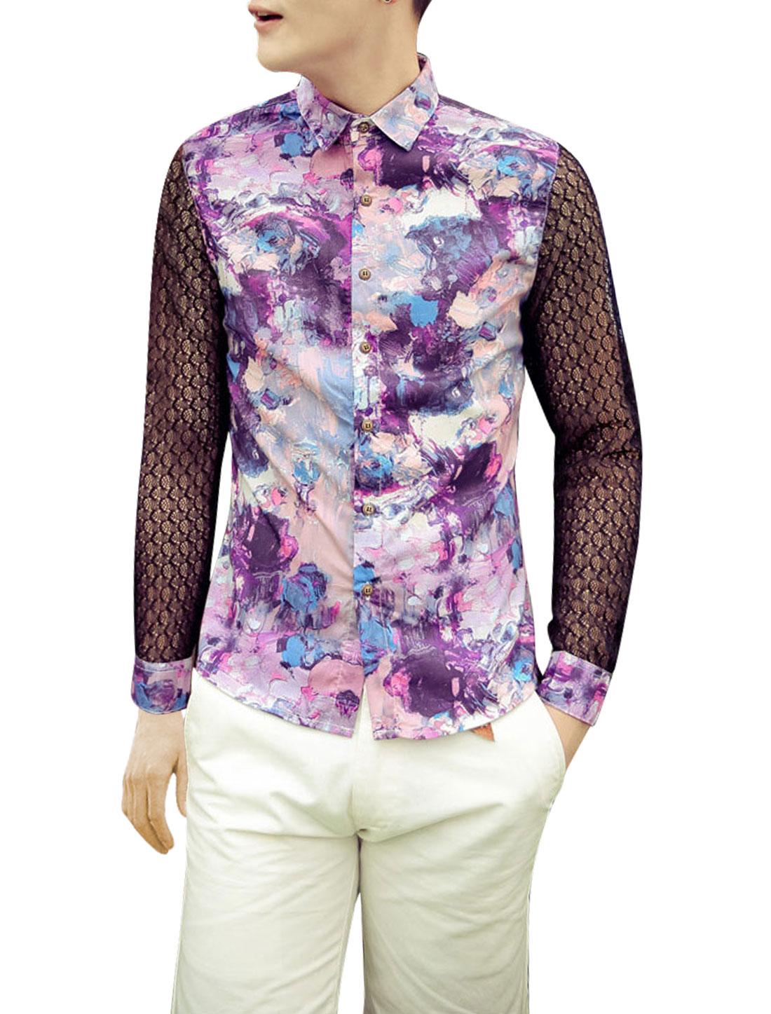 Man Flower Pattern Lace Spliced Long Sleeve Casual Shirt Purple S