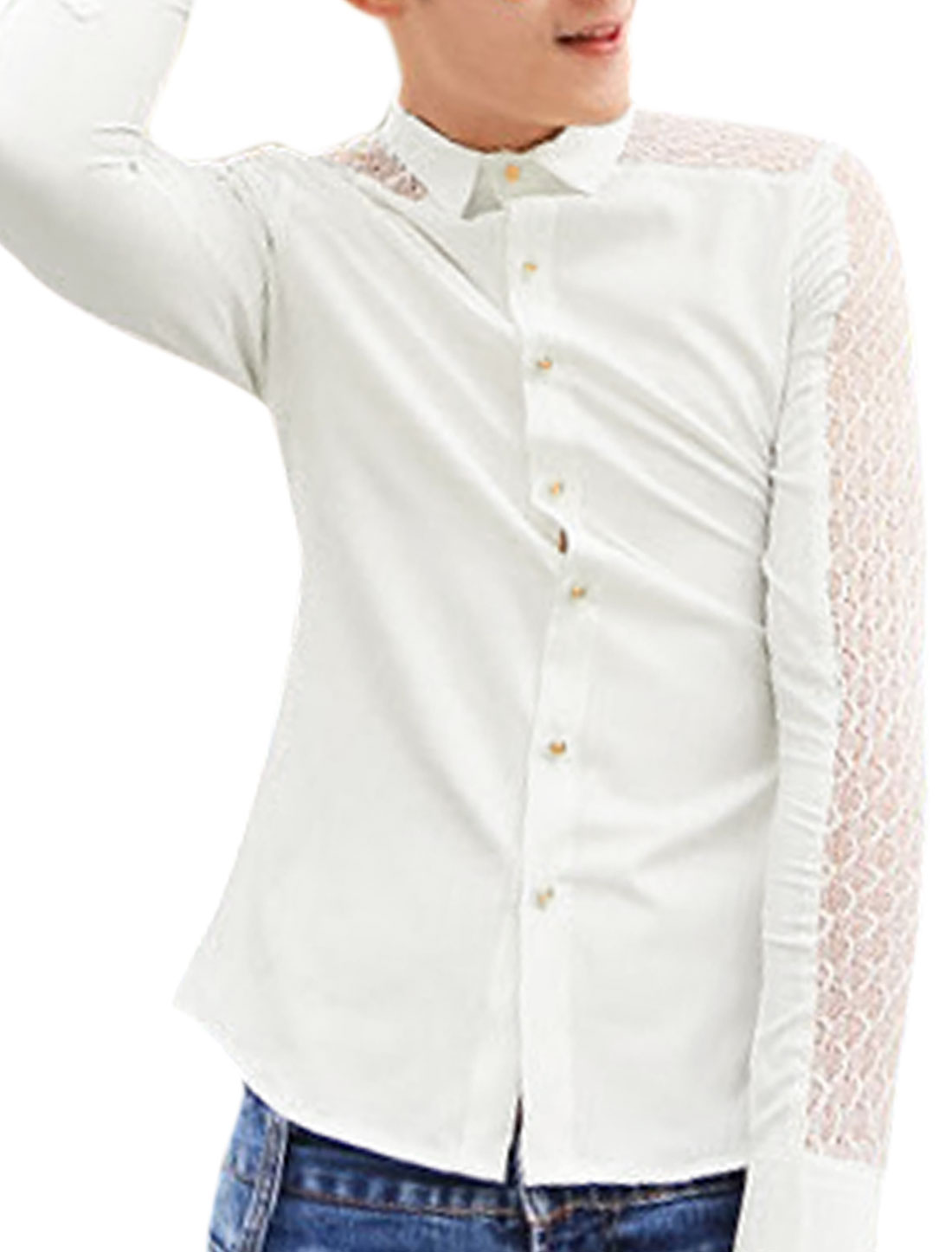 Men Point Collar Lace Panel Long Sleeves Casual Shirt White S