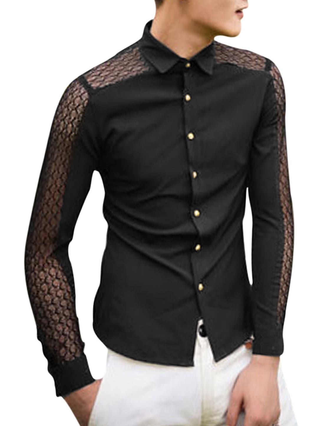 Single Breasted Long Sleeves Black Casual Shirt for Man S