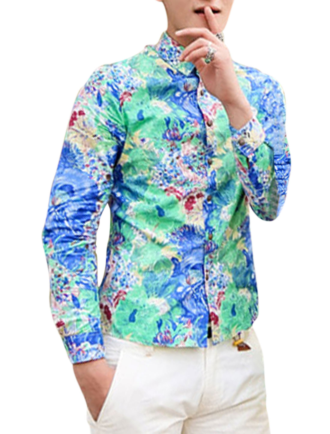 Men New Fashion Allover Flower Print Single Breasted Round Hem Shirt Blue Light Green S