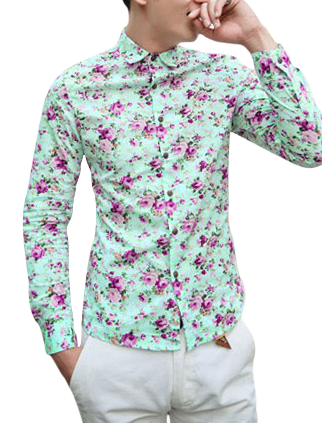 Men All-Over Flower Print Single Breasted Round Hem Shirt Fuchsia Light Blue S