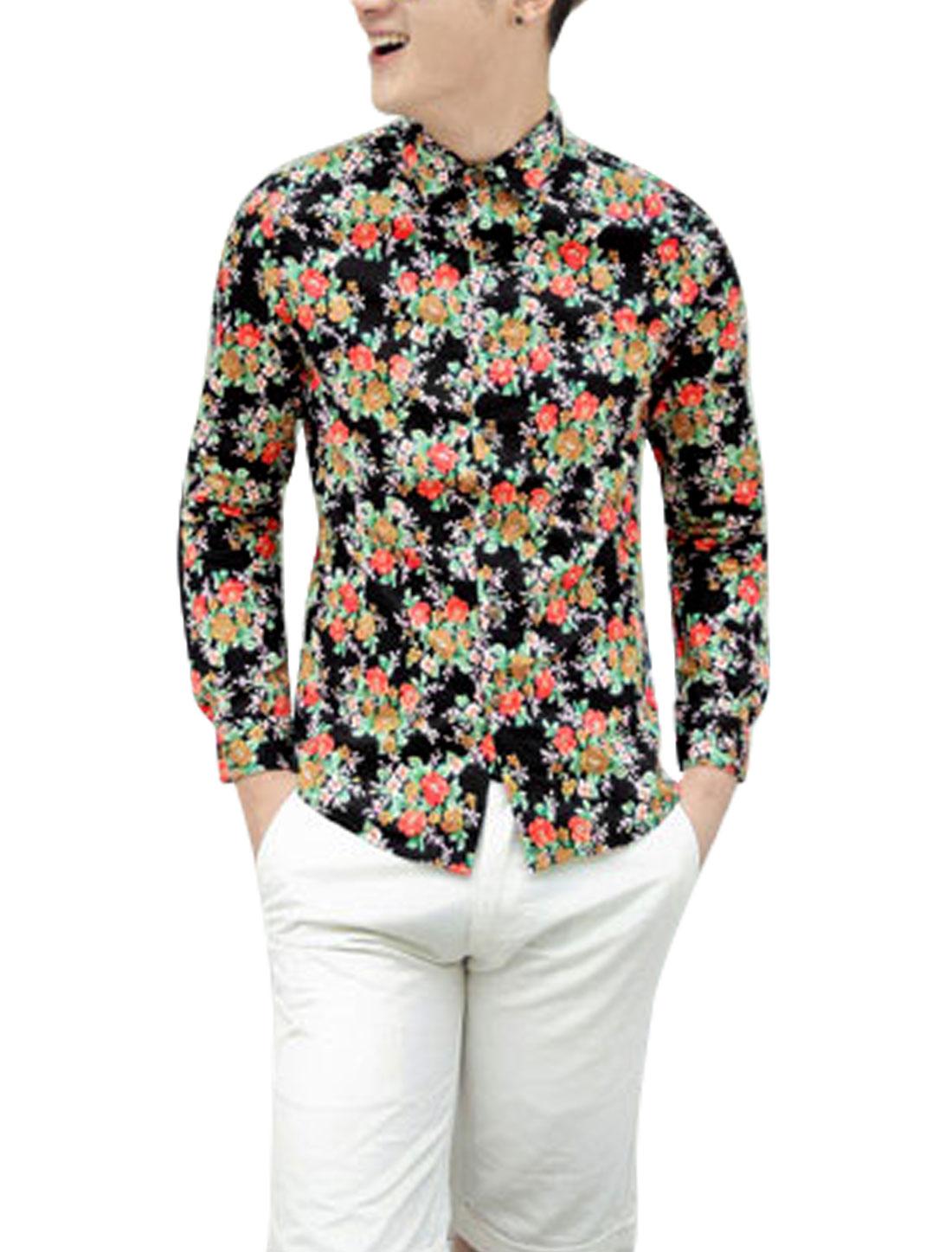 Men Long Sleeves Allover Flower Print Single Breasted Slim Cut Shirt Black Orange S