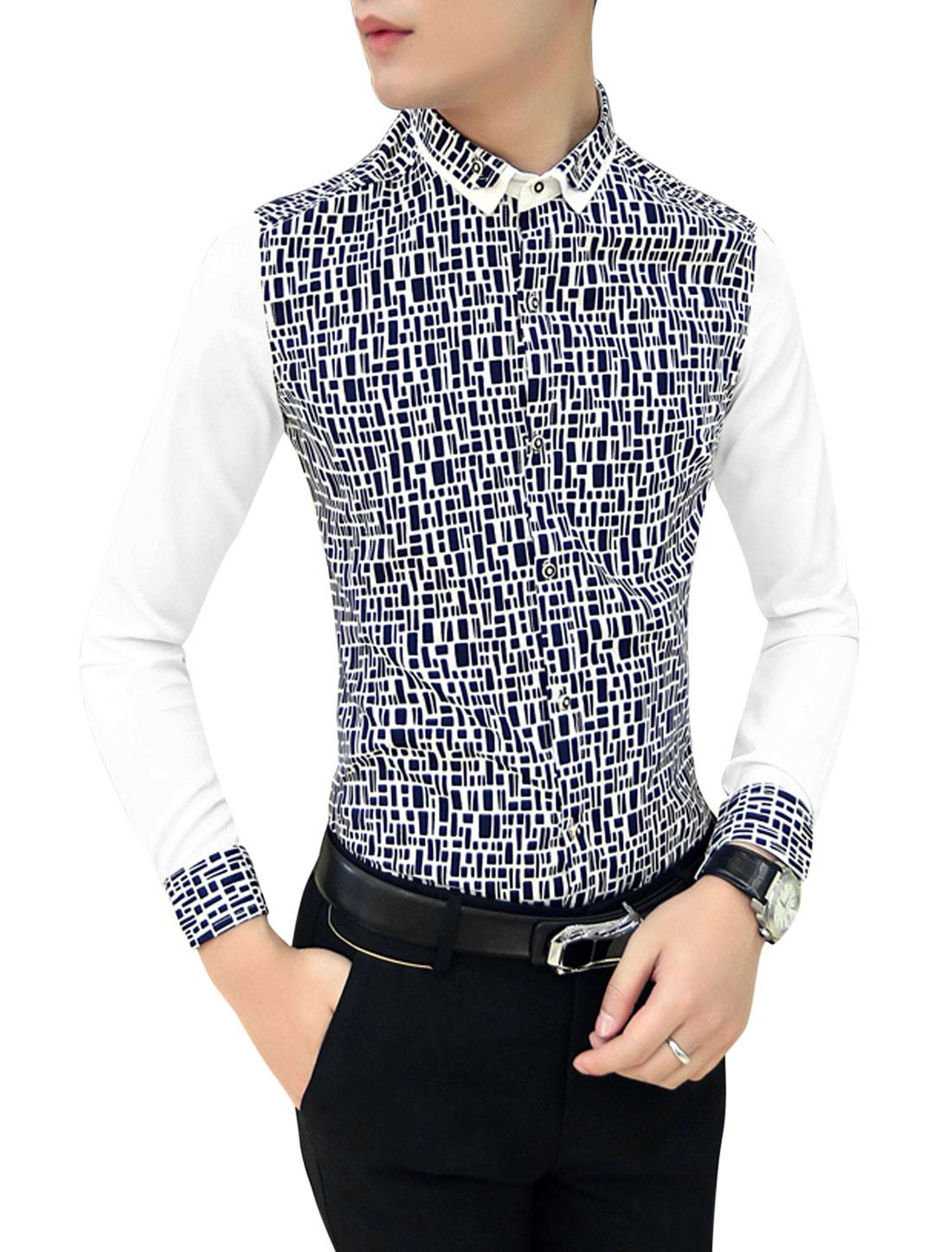 Men Contrast Long Sleeves Contrast Geometric Print Slim Cut Shirt Navy Blue White M