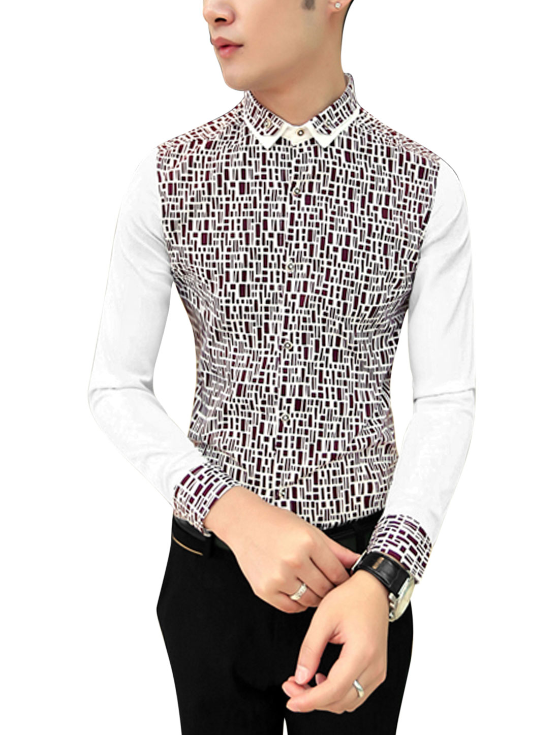 Men Buttoned Cuffs Contrast Geometric Print Slim Cut Shirt Brown White M