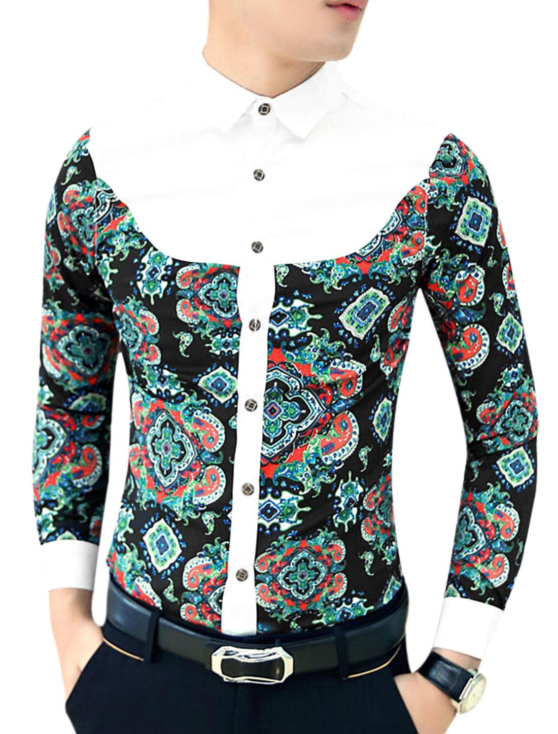 Men New Fashion Contrast Shoulder Contrast Jacquard Print Shirt White Orange M