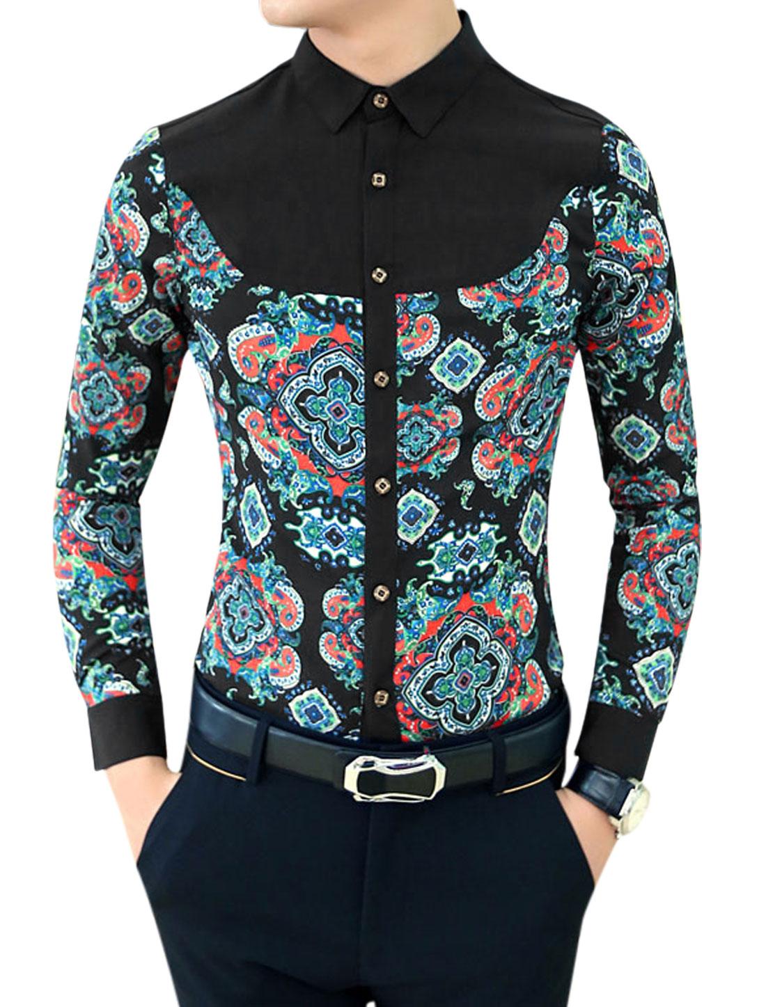 Men New Panel Contrast Shoulder Contrast Jacquard Print Shirt Black Orange M