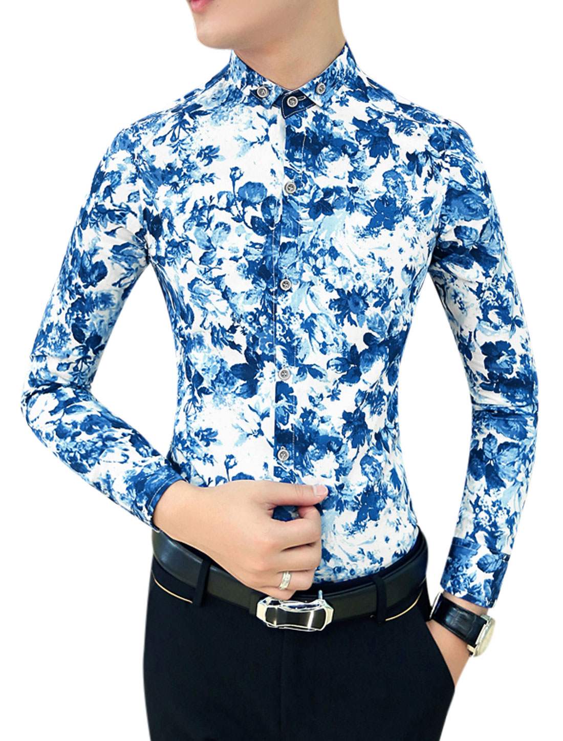Men Blue Long Sleeves Point Collar Button Closure Flower Prints Shirt S