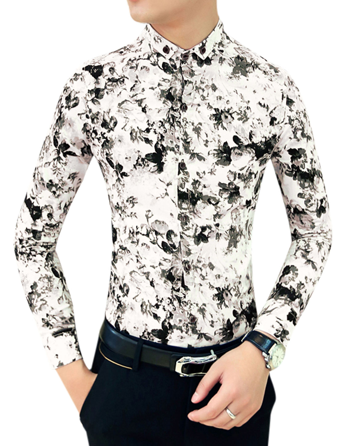 Men Black Long Sleeves Point Collar Single Breasted Floral Pattern Shirt S