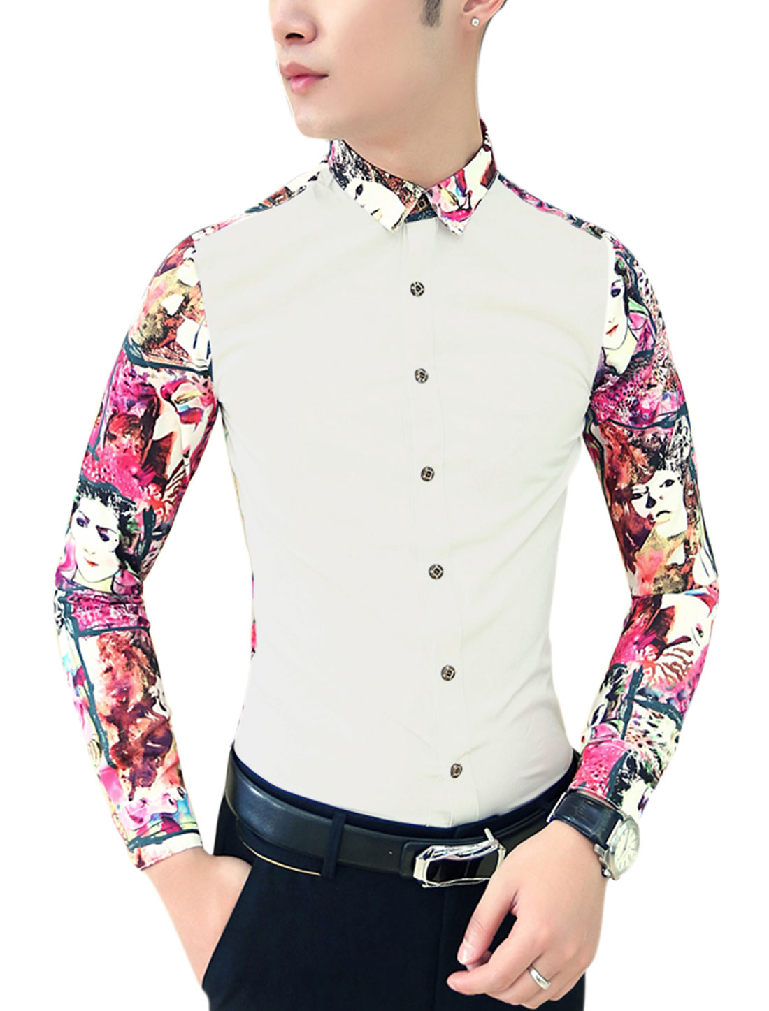 Men Contrast Long Sleeves Contrast Novelty Portrait Print Shirt White Fuchsia M