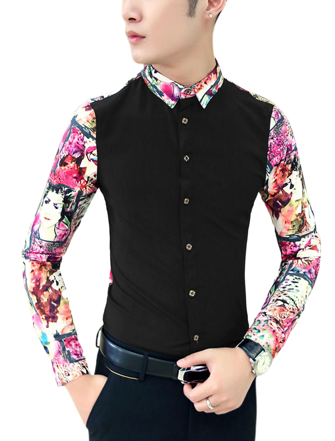 Men Contrast Back Contrast Novelty Portrait Print Shirt Black Fuchsia M