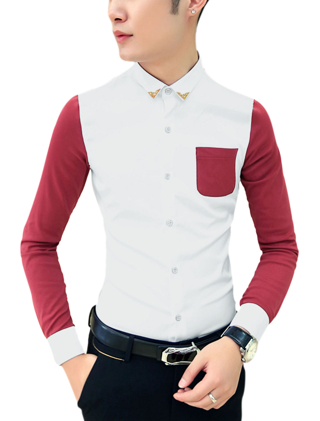 Men Contrast Long Sleeves Contrast Chest Pocket Slim Cut Shirt Warm Red White M