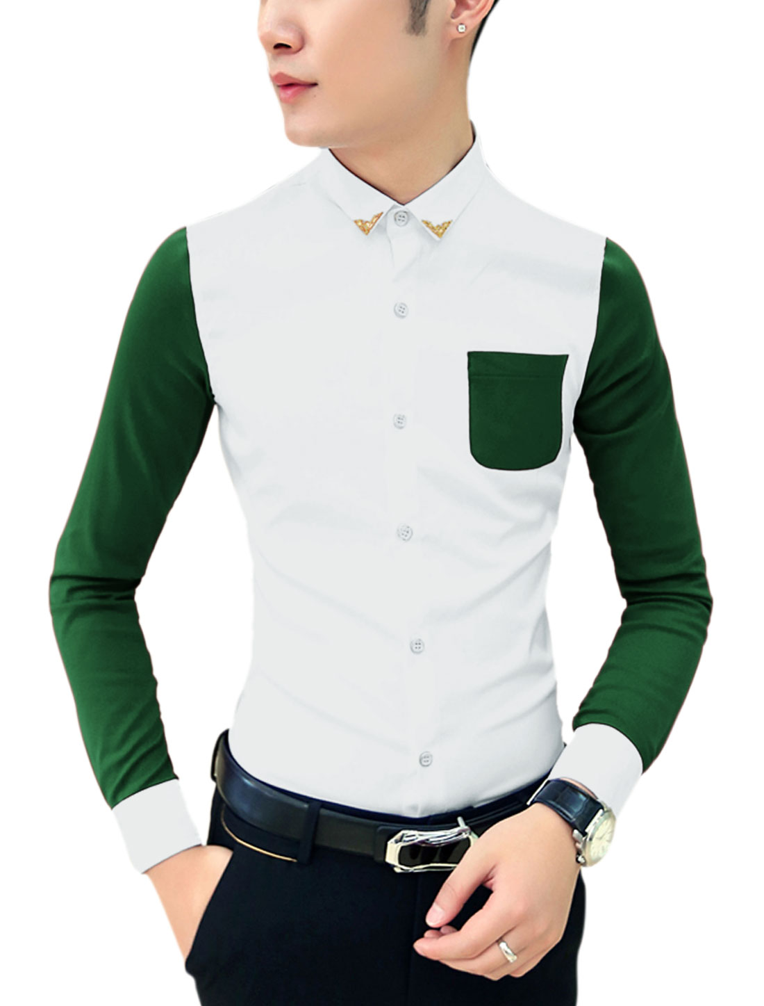 Men Metal Collar Tips Panel Contrast Chest Pocket Newly Shirt Green White M