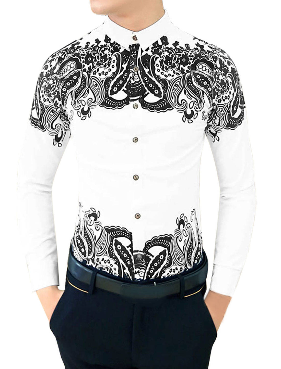 Men Autumn Slim Paisleys Pattern Button-Front Round Hem Shirt White S
