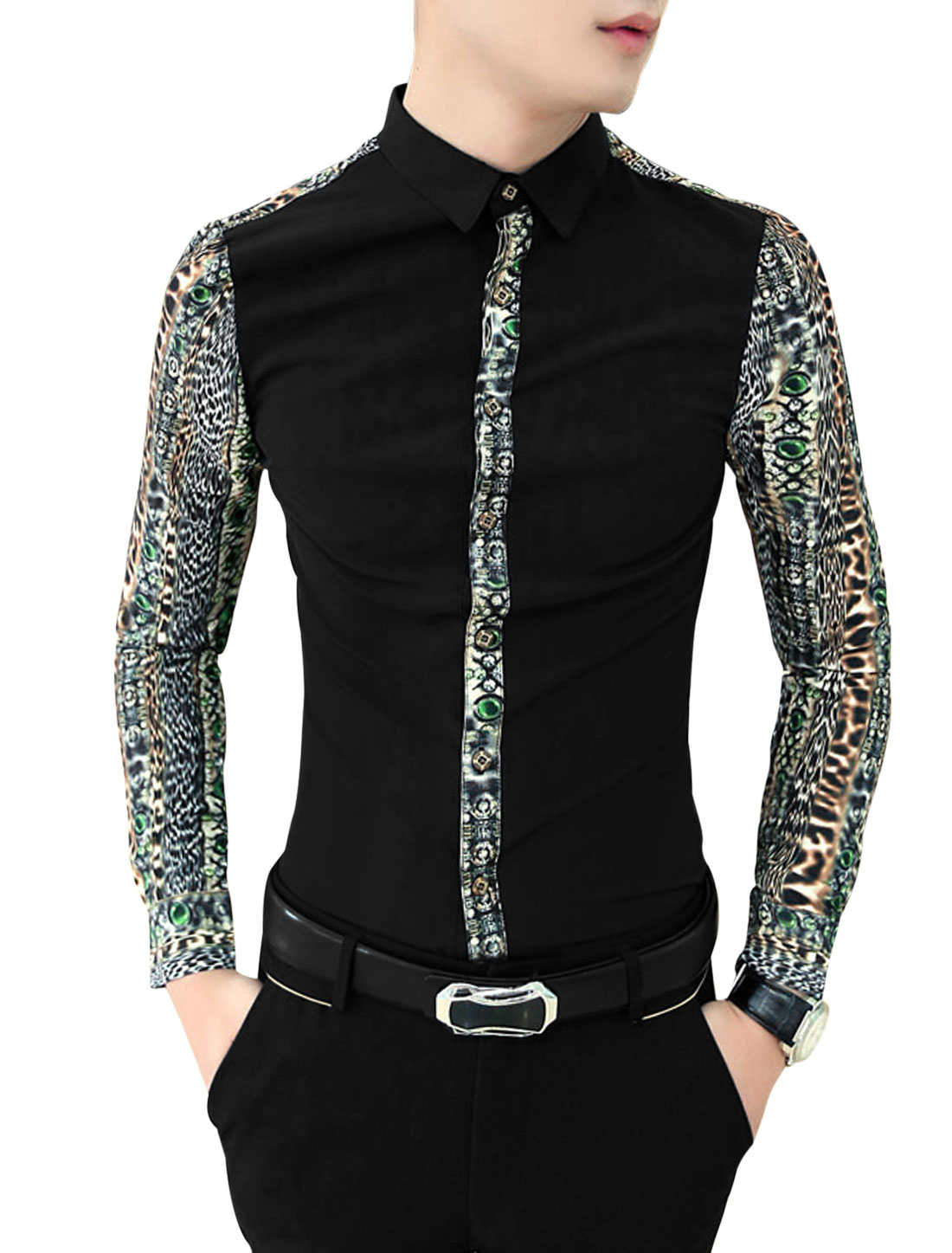Men Stylish Contrast Novelty Print Contrast Placket Slim Shirt Black M