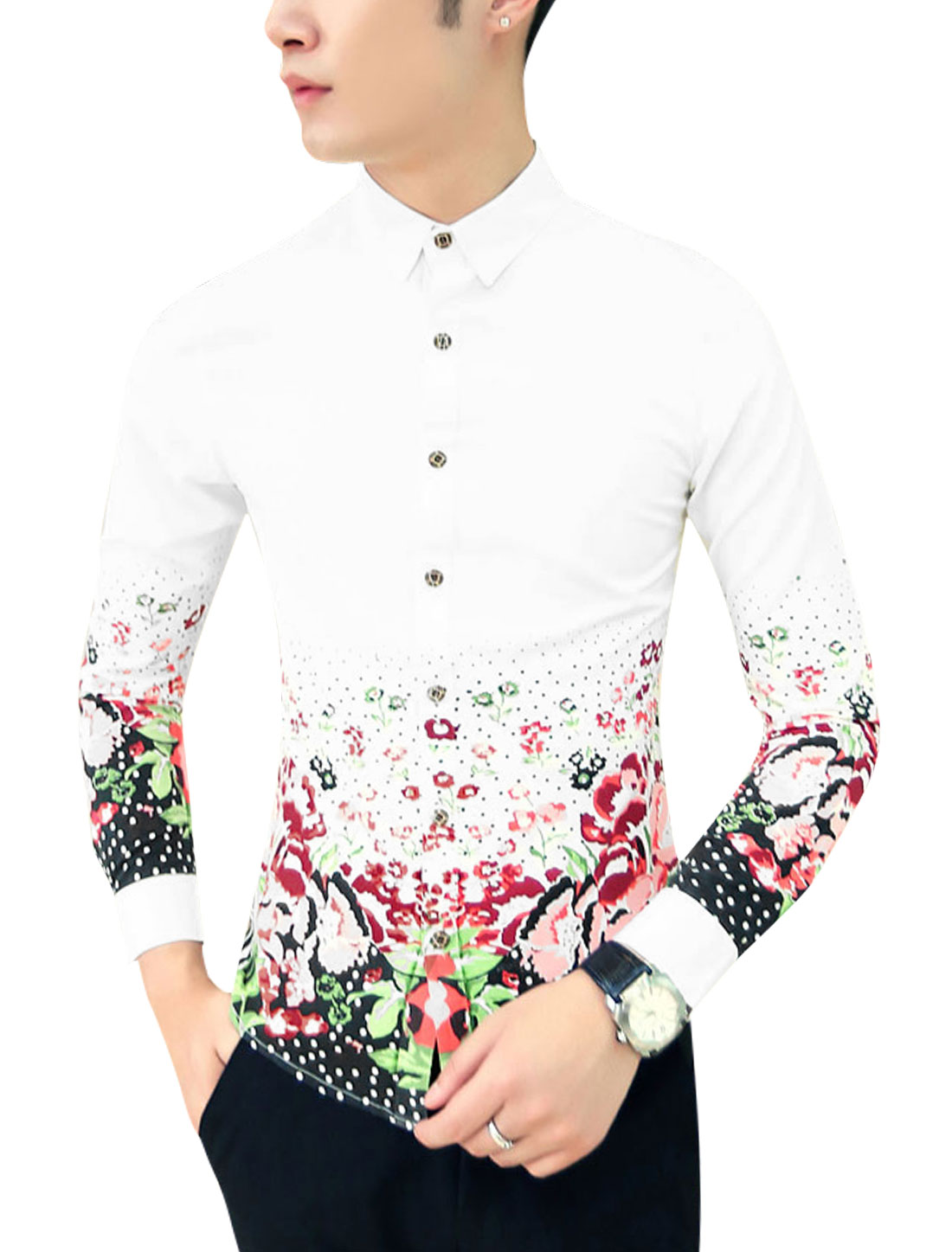 Men Contrast Floral Dots Print Single Breasted Slim Cut Shirt White S