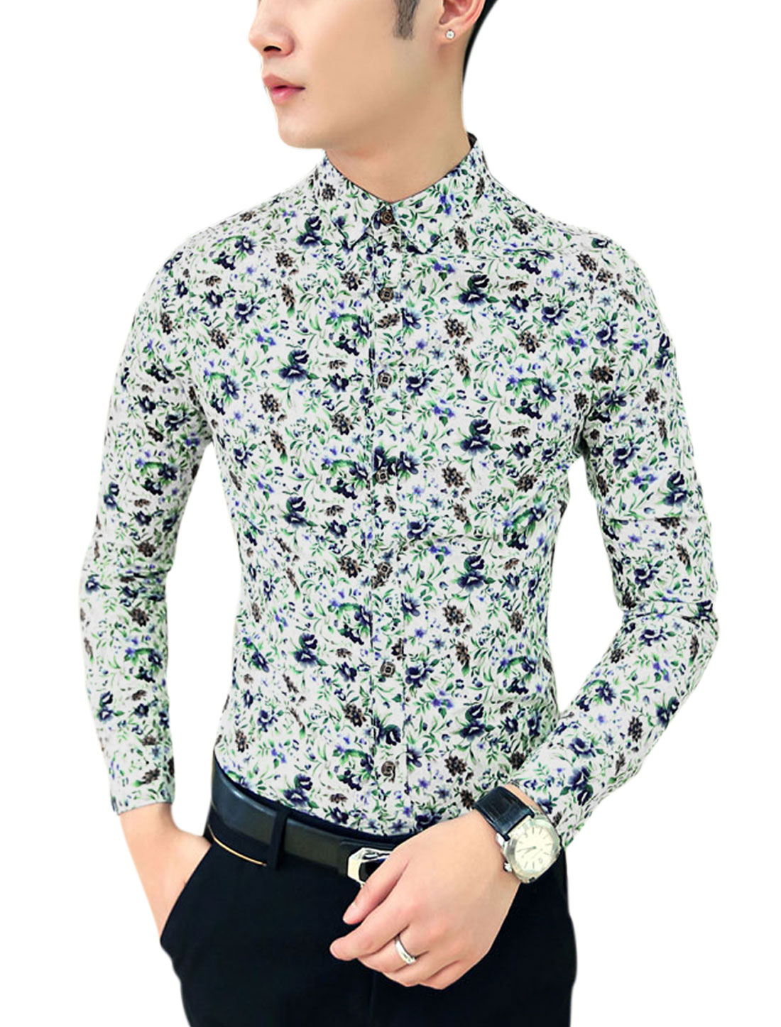 Men Buttons Closed All-Over Floral Print Round Hem Slim Cut Shirt Blue Brown S