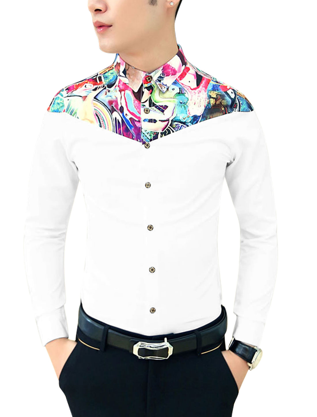 Men Contrast Shoulder Contrast Novelty Print Button-Front Shirt White S