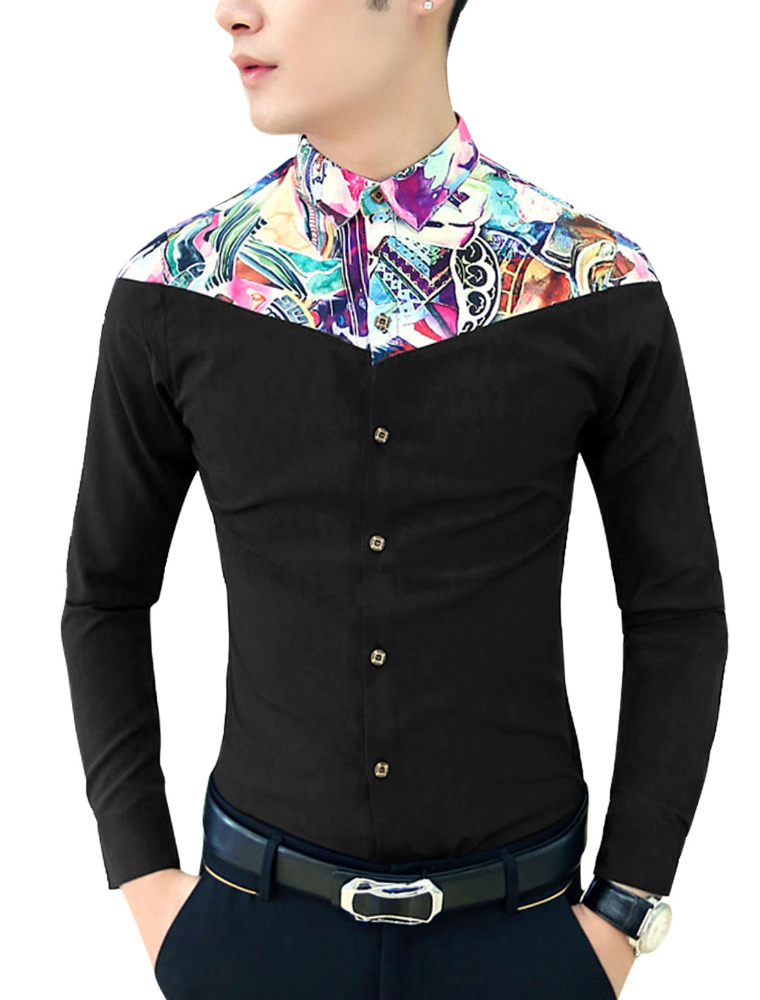 Men Contrast Point Collar Contrast Novelty Print Button-Front Shirt Black S