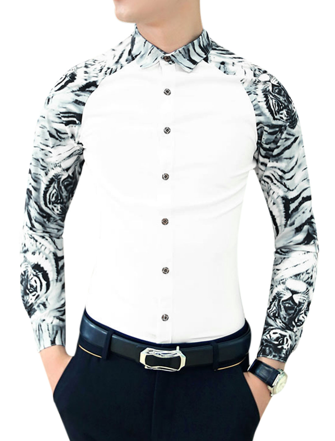 Men Contrast Long Sleeves Contrast White Tiger Print Slim Cut Shirt White S